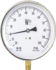 Compound pressure gauge with 30 in vacuum by 100PSIG scale